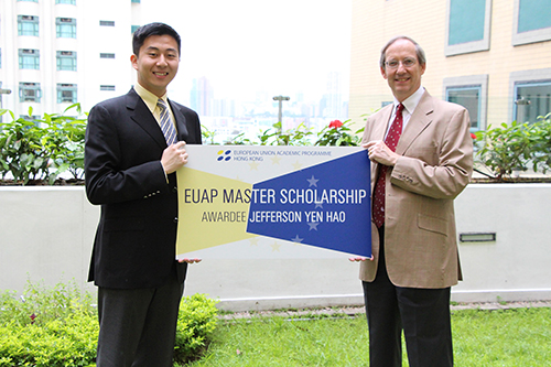Prof. Cabestan, Director General of EUAP and the scholarship awardee, Jefferson Yen Hao