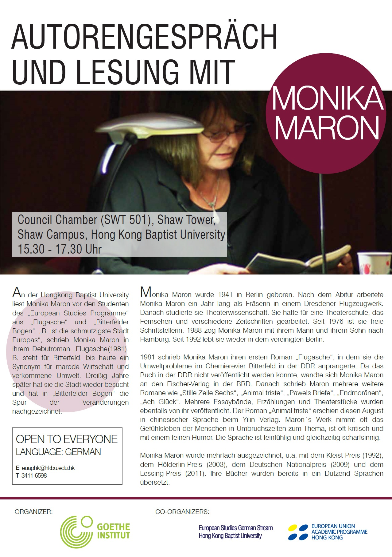 Talk and Public Reading with Monika Maron