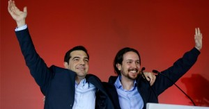 Alexis Tsipras and Pablo Iglesias at a Syriza rally this month. Yannis Behrakis / Reuters