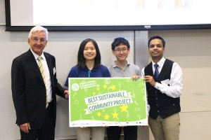 "Winners of the grand prize earning the title of ""Best Sustainability Ambassadors"": Mok Yi Ting, Rachel and So Hoi Lam, Brian from HKCCCU Logos Academy"