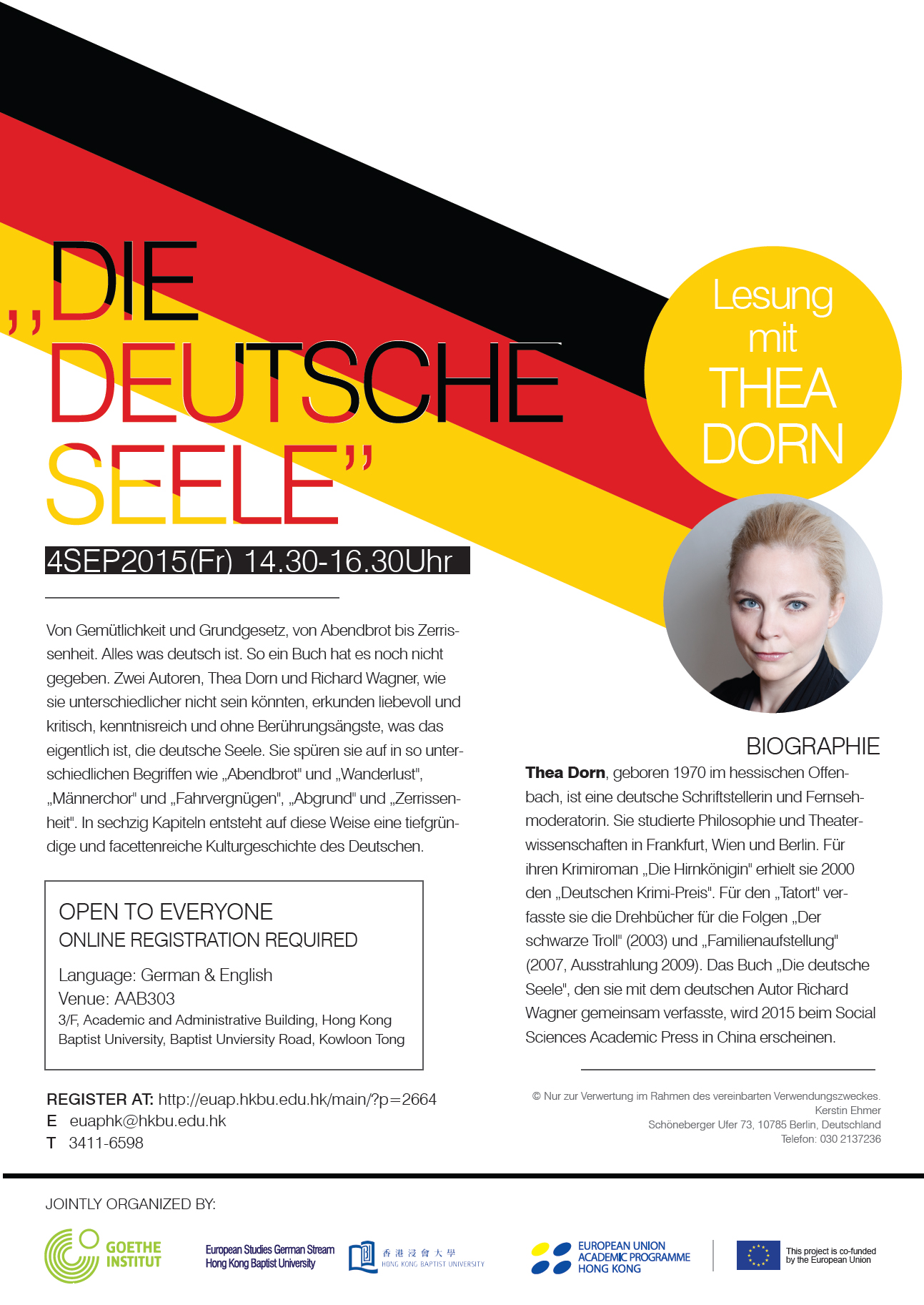 "Reading of ""Die deutsche Seele"" and talk with its author Thea Dorn"