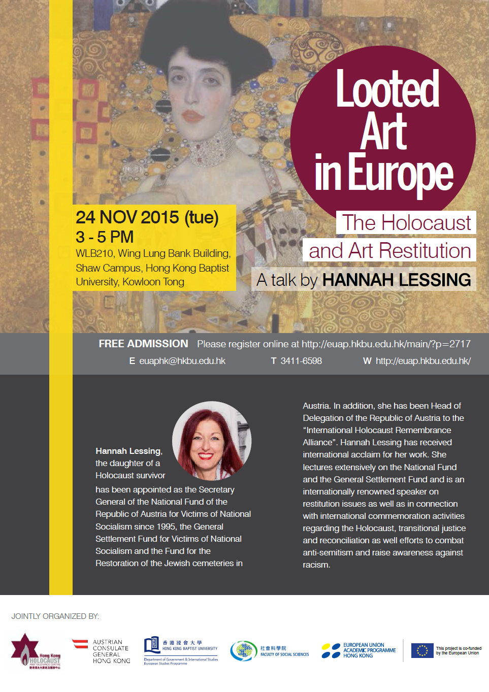 "Hannah Lessing: Talk on Art Restitution ""Looted Art in Europe - The Holocaust and Art Restitution"""