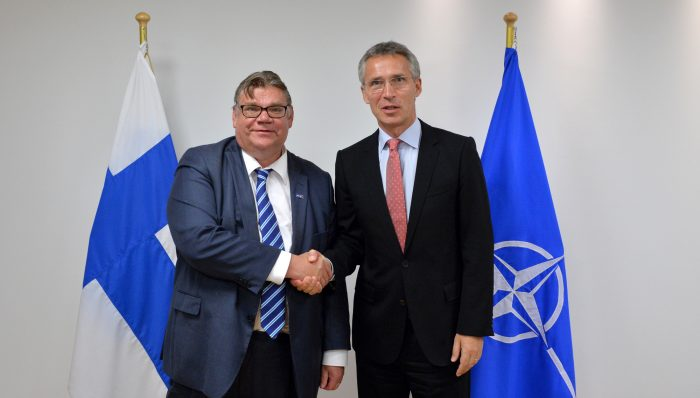 Finnish Minister of Foreign Affairs Timo Soini meets with NATO Secretary General Jens Stoltenberg in Sept, 2015. Credit: NATO Newsroom