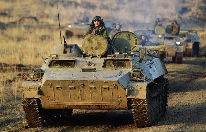 Russian troops holding military drill Credit: Yuri Smityuk, Russian News Agency TASS
