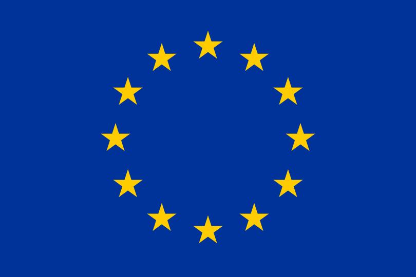 歐盟的旗幟,十二顆星星象徵歐洲各民族之間團結和諧。