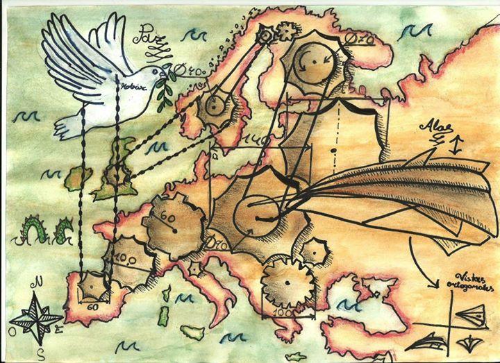 此為歐盟舉辦的「和平,歐洲,未來」繪畫比賽之勝出作品,出自西班牙女孩Ana Fanlo Vicente  (12歲) 之手,寓意歐洲和平像機器一樣,有賴各國所代表的齒輪維持運作,缺一不可。